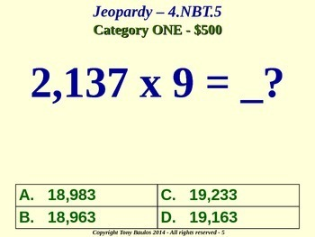 4th Grade Math Jeopardy Game - Multiply Multi-Digit Whole Numbers 4.NBT.5