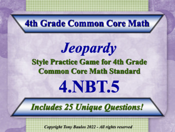4th Grade Math Jeopardy Game - Multiply Multi-Digit Whole