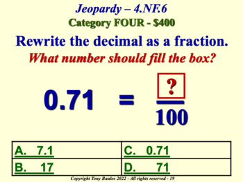 4th Grade Math Jeopardy Game - Use Decimal Notation for Fractions 4.NF.6