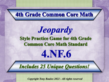 4th Grade Math Jeopardy Game - Use Decimal Notation for Fr