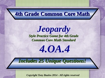 4th Grade Math Jeopardy Game, Whole Number Factor Pairs &