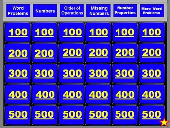 4th Grade Math Jeopardy Review 1 (Beginning of Year Topics)