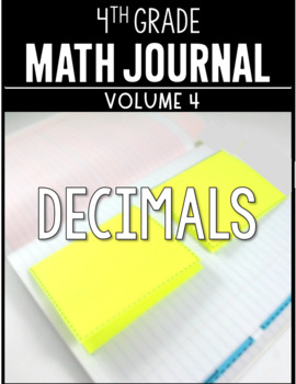 4th Grade Math Journal Decimals