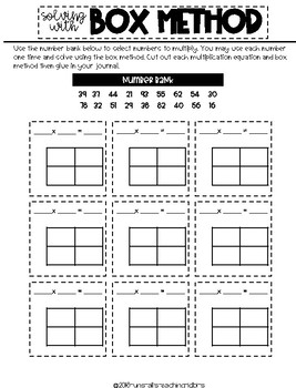 4th Grade Math Journal Multiplication and Division