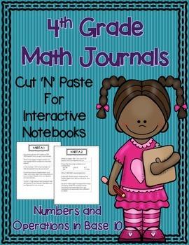 4th Grade Math Journals for Interactive Notebooks {NBT CC