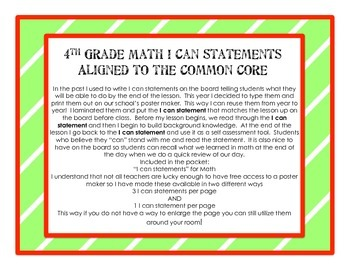 4th Grade Math Learning Targets/I can statements