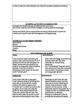 4th Grade Math Lesson Plan