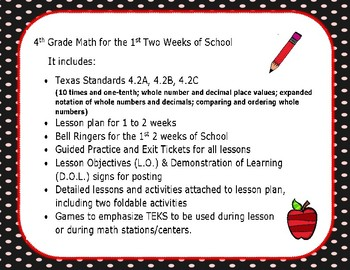 4th Grade Math Lesson Plan, Activities, Games (1st to 2nd week)