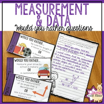 4th Grade Measurement and Data Would You Rather Math Questions