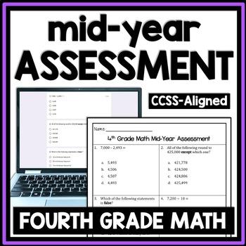 4th Grade Math Mid-Year Assessment (Fourth Grade Math First Semester Test, Exam)