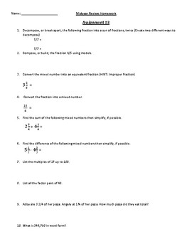 4th Grade Math Midyear Review Homework / Handouts Lessons / Review