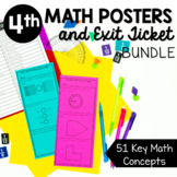 4th Grade Math Posters and Exit Tickets Bundle