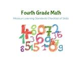 4th Grade- Math Missouri Learning Standards Checklist of Skills
