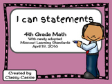 4th Grade Math Missouri Learning Standards I can Statement & Checklist