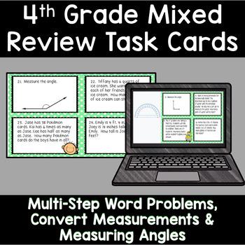 4th Grade Math - Spiral Review Task Cards Bundle