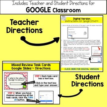 4th Grade Math Mixed Review Task Cards Set #1 - Print & Google Slides™  Version
