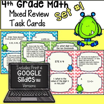 4th Grade Math - Mixed Review Task Cards - Set 1