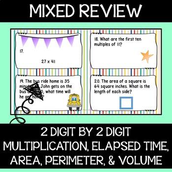 4th Grade Math - Mixed Review Task Cards - Set 4