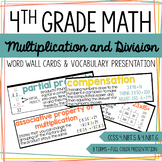 4th Grade Math - Multiplication and Division - Word Wall Cards & Presentation
