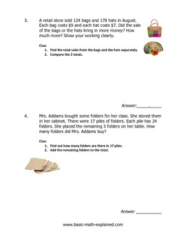 4th Grade Math Multi-step Word Problems