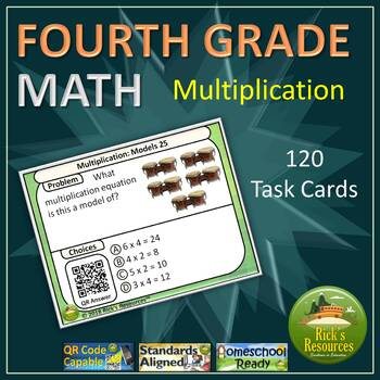 4th Grade Math Multiplication Task Card Kit