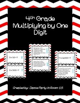 4th Grade Math Multiplying by One Digit Scavenger Hunt