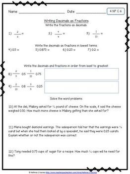 4th Grade Math NO PREP Worksheets