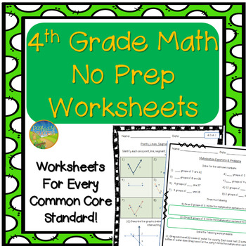 4th Grade Math NO PREP Worksheets
