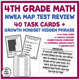4th Grade Math NWEA Map Test Review 40 Task Cards & Growth Mindset Phrase