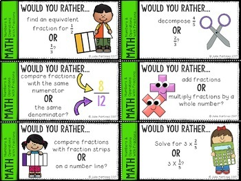 4th Grade Math Numbers & Operations Fractions Would You Rather Questions