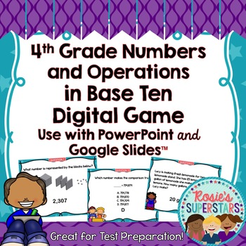 4th Grade Math Numbers and Operations in Base Ten Test Prep Digital Game