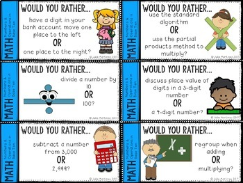 4th Grade Math Numbers and Operations in Base Ten Would You Rather Questions