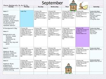 4th Grade Math Pacing Guide Calendar FREE