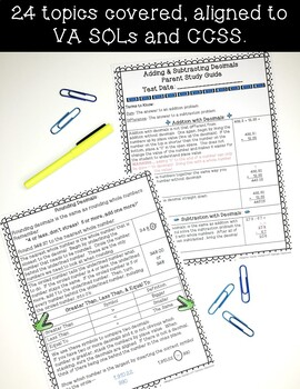 4th Grade Math Parent Study Guides- ENTIRE YEAR !