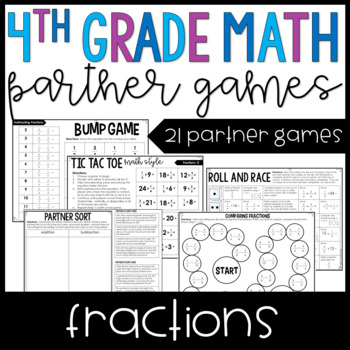 4th Grade Math Partner Games | Fractions Games