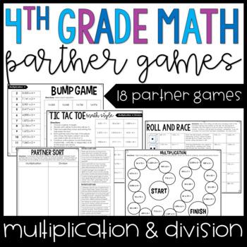 4th Grade Math Partner Games   Multi-Digit Multiplication and Division