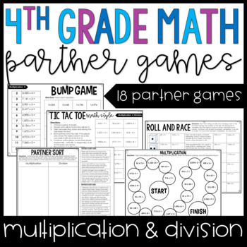 4th Grade Math Partner Games Multi Digit Multiplication And Division