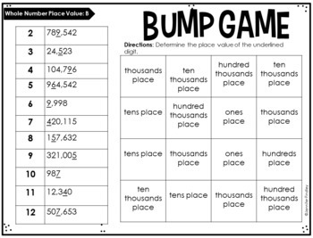 4th Grade Math Partner Games | Whole Number Place Value