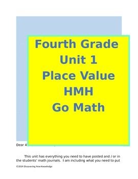 Math - 4th Grade HMH Unit 1 Place Value