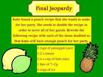 4th Grade Math Powerpoint Jeopardy Interactive Game CCSS Fractions & Decimals
