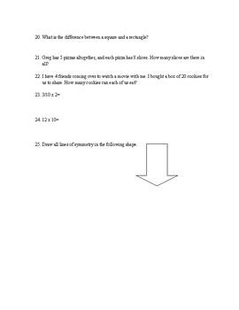 4th Grade Math Pre-Test