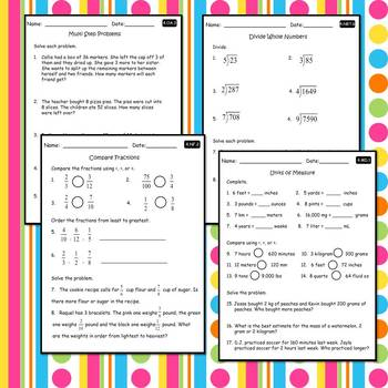 4th Grade Math Worksheets & Assessments CCSS (Includes ALL Standards)
