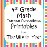 4th Grade Math Worksheets & Assessments Common Core Aligned *EDITABLE
