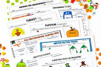 4th Grade Math Printables BUNDLED {Holiday and Seasonal}