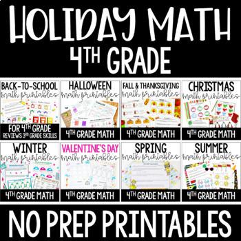4th Grade Math Worksheets   Holiday and Seasonal Math for Fourth Grade