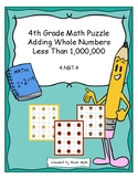 4th Grade Math Puzzle - Adding Whole Numbers less than 1,000,000