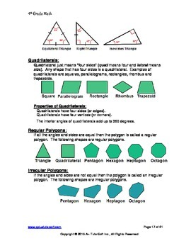 """A+ Math"" 4th Grade Math Quick Reference Guide"