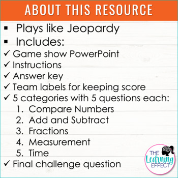 3rd Grade Review #1 Game Show | End of Year