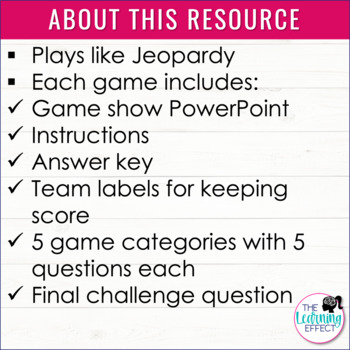 4th Grade Math Game Review - BUNDLE
