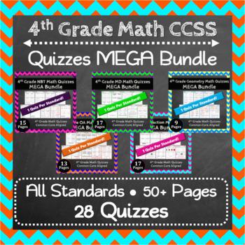 4th Grade Math Quizzes Digital + Paper MEGA Bundle: Google + PDF Quizzes
